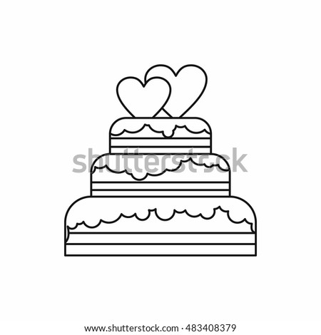 Wedding Cake Icon Outline Style Isolated Stock Vector 483408379 - Wedding Cake Outline