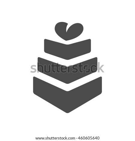 Wedding cake icons in single color. Romantic married party dessert - stock vector