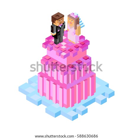 Wedding cake figures minecraft style vector stock vector royalty wedding cake with figures in minecraft style vector isometric illustration for postcards and your stopboris Images