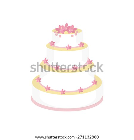 Wedding cake with pink flowers vector isolated, wedding invitation .
