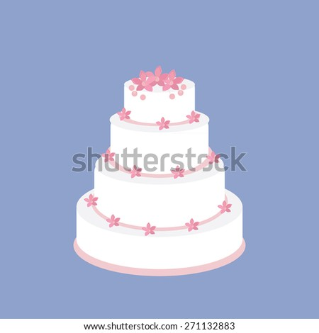 Wedding cake with pink flowers vector on blue background, wedding invitation .