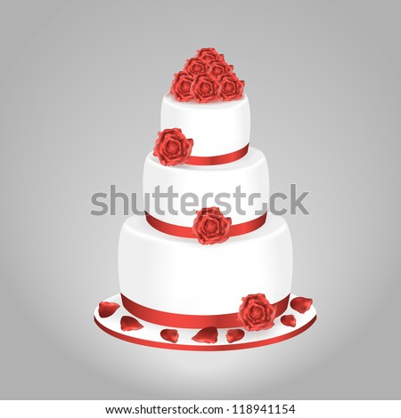 Wedding cake with red roses isolated on a gray background - stock vector