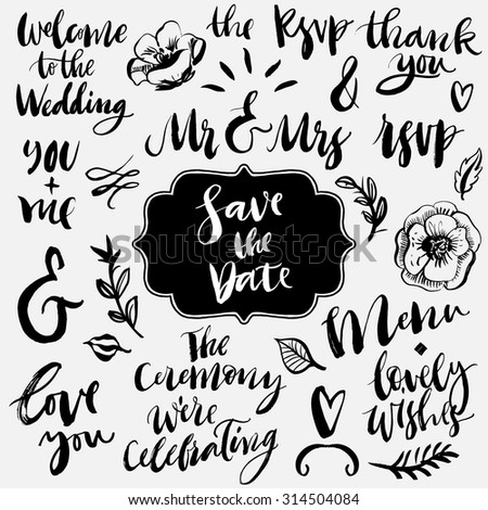 Wedding calligraphy and lettering collection. Ampersands and catchwords. Hand drawn design elements. - stock vector
