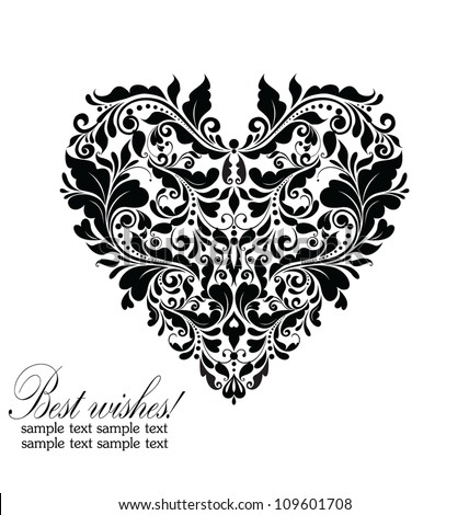 Wedding card (black and white) - stock vector