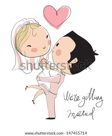 Wedding card. Bride and groom  - stock vector