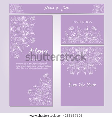 Wedding card collection. Patterned zentangle background on marketing materials. Identity elements for professionals. Vector illustration.