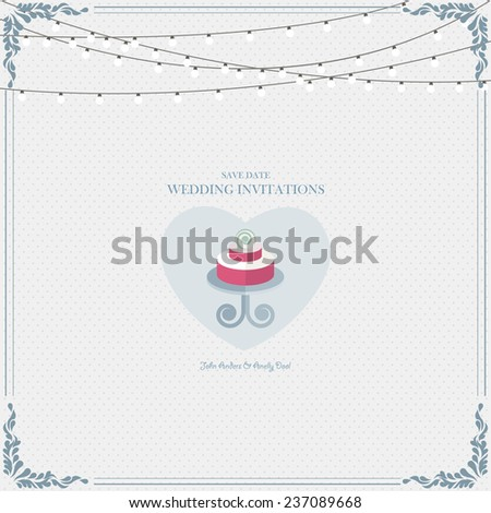 Wedding card flat. Wedding Cake flat. Wedding Card Invitation in Vector - stock vector