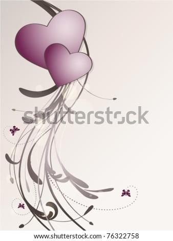 Wedding card floral - stock vector