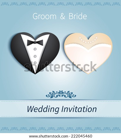 wedding card in the form of heart with tuxedo and dress - stock vector