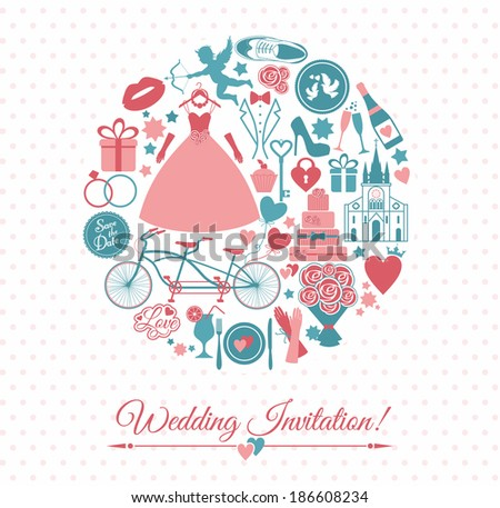 Wedding card invitation - stock vector