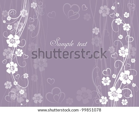 wedding card on lilac background - stock vector