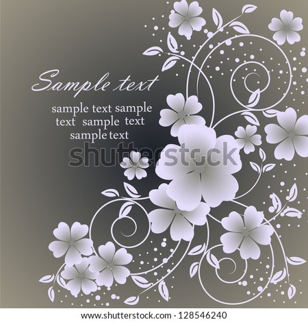 Wedding card or beautiful floral invitation card. Cute romantic floral background. Abstract greeting card. Greeting postcard in vintage vector style. Elegance pattern with flowers. - stock vector
