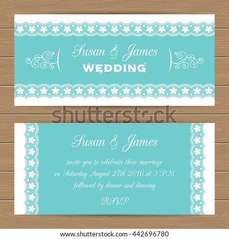 Wedding card or invitation template with lacy border. Can use as invitation or announcement. Vector