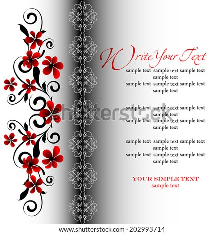 Wedding card or invitation with abstract floral background. Elegance pattern with flowers. Abstract greeting card. - stock vector