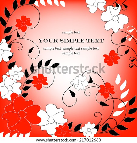 Wedding card or invitation with abstract floral background. Elegance pattern with flowers. Abstract greeting card.