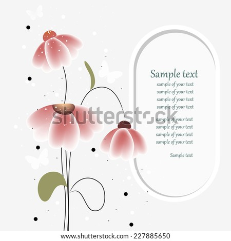 Wedding card or invitation with abstract floral background. Elegance pattern with flowers. Abstract greeting card. Greeting card in retro style. - stock vector