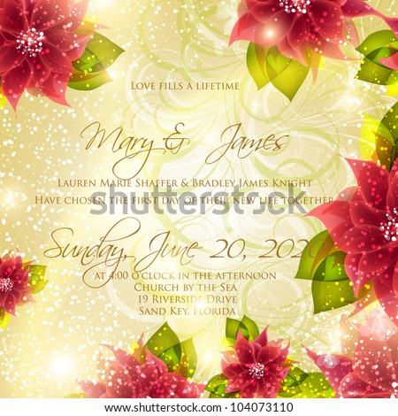 Wedding card or invitation with abstract floral background. Greeting card in grunge or retro style. Elegance pattern with flowers roses, floral illustration in vintage style Valentine. Classic. - stock vector