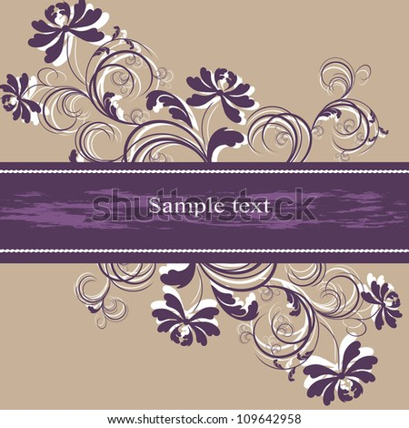 Wedding card or invitation with abstract floral background. Greeting card in grunge or retro style. Elegance pattern with flowers. - stock vector