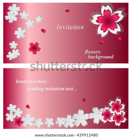Wedding card or invitation with abstract floral background. Greeting card in pink sakura flower Templates. Beautiful floral background