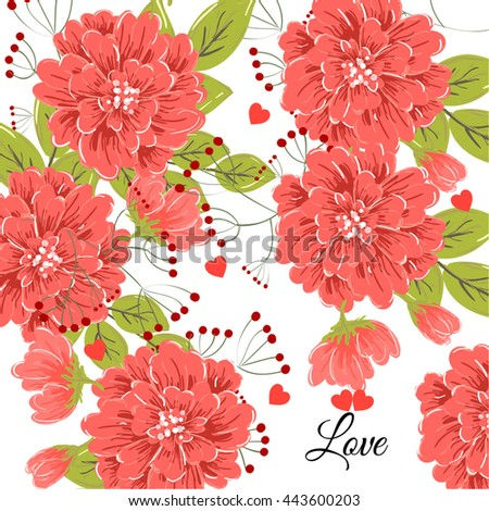 Wedding card or invitation with abstract floral background. Greeting postcard in retro vector Elegance pattern with flowers roses floral illustration vintage style