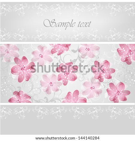 Wedding card or invitation with abstract floral background. Stylish floral retro background.