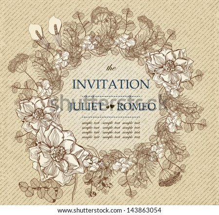 Wedding card or invitation with abstract floral background. Vector, EPS 10 - stock vector