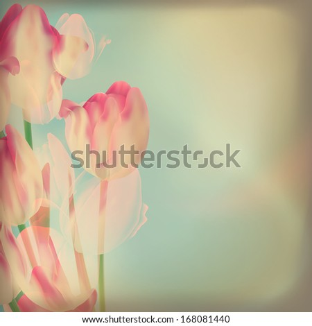 Wedding card or invitation with abstract tulips. And also includes EPS 10 vector - stock vector