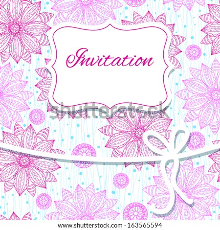 Wedding card or invitation with  floral background. - stock vector