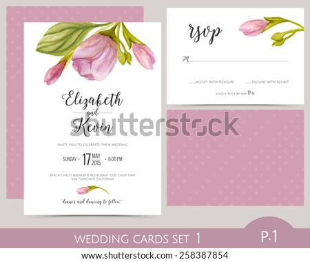 Wedding card set with watercolor flowers. Wedding invitation card. RSVP card. Wedding cards template. - stock vector
