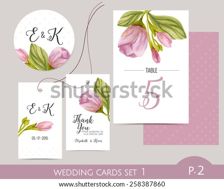 Wedding card set with watercolor flowers. Wedding label. Wedding favor gift tag. Table number. Wedding cards template. - stock vector