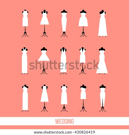 wedding card template wedding dresses isolated stock vector