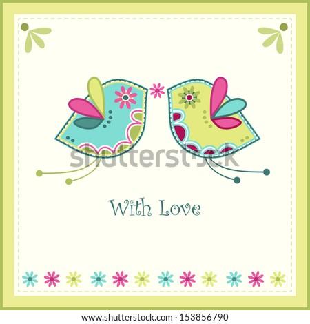 Wedding card, vector - stock vector
