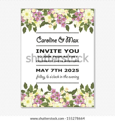 Wedding card. Vector file has few layers for easy using. - stock vector