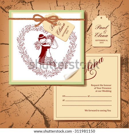 Wedding card with cartoon groom and bride. Original drawing style. Creative template.