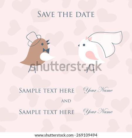 Wedding card with cute birds couple - stock vector