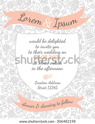 wedding card with gentle flower lace design - postcard with the invitation
