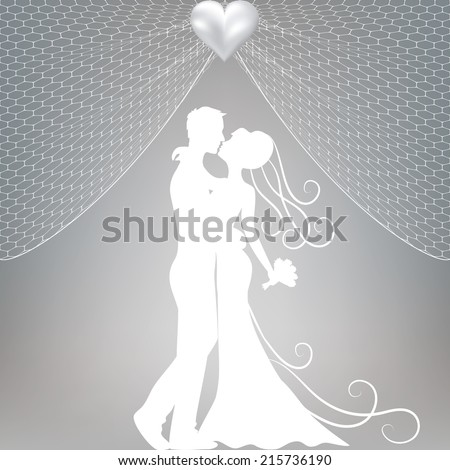 Wedding card with kissing groom and bride, curtains and pearl bow - stock vector