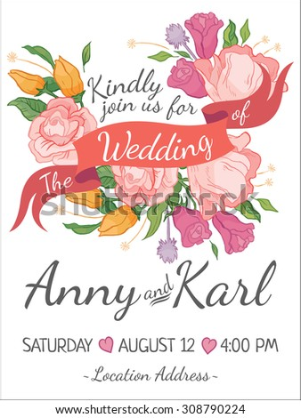 Wedding card with ribbon and vector flower design - stock vector