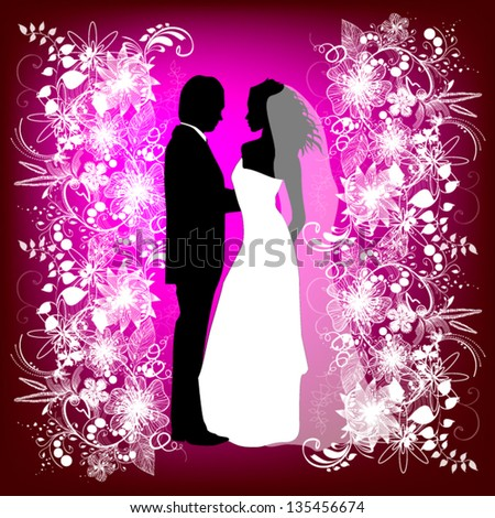 wedding card with the newlyweds on a pink background