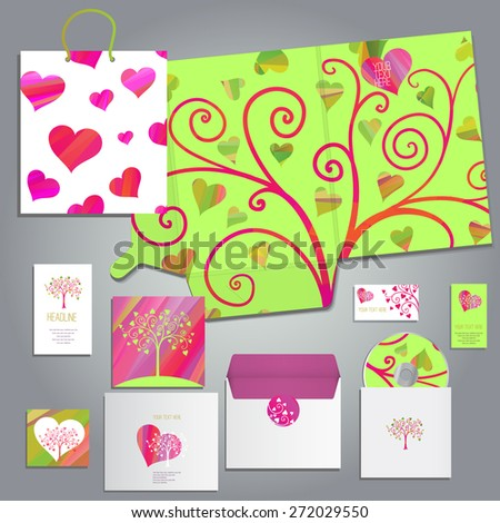 wedding cards and invitation set with hand drawn floral tree in cartoon paper cut style or for any occasion, includes folder A4 envelope business card and postcard, eps 10 - stock vector
