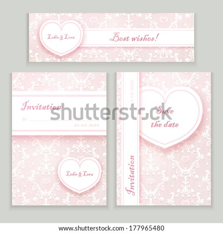 wedding cards set - stock vector