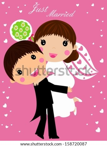 Wedding - cartoon bride and groom