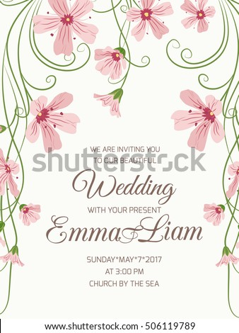 Wedding Ceremony Invitation Card Floral Template Stock Vector 2018