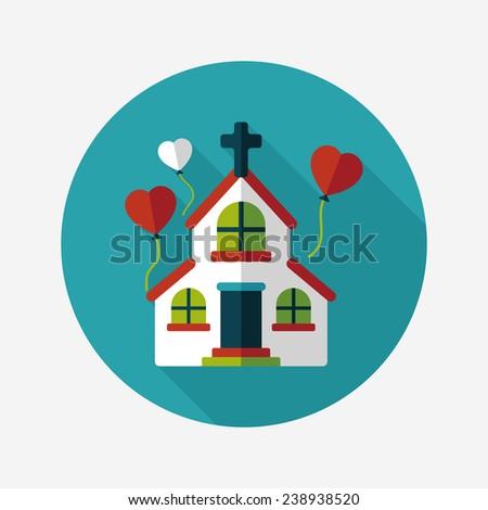 wedding church flat icon with long shadow, eps10 - stock vector