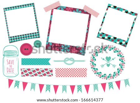 Wedding Clip art with Photo Frames in Vector