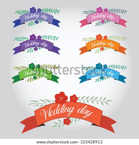 Wedding collection with labels, ribbons in vector