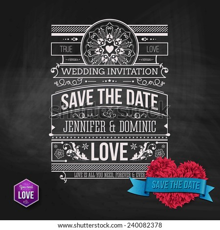 Wedding Concept - Artistic Save the Date Template Design on Gray Background. Emphasizing Red Furry Heart Shape with Save the Date Texts on Light Blue Ribbon. - stock vector