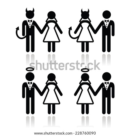 Wedding couple - devil and angel bride and groom icons  - stock vector
