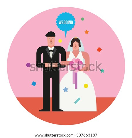 Wedding couple. Flat design vector illustration concept.