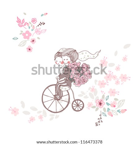wedding couple on a bicycle - stock vector